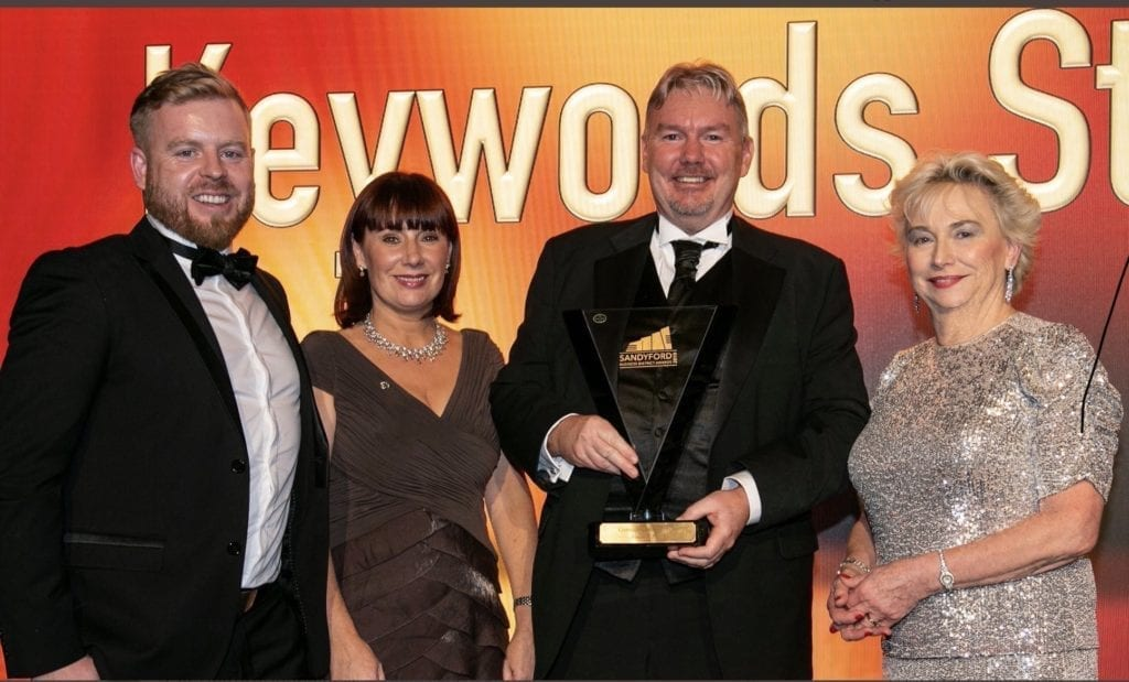 Global HR Director Gerry Cleary receives the Sandyford Business District 'Company of the Year 2019' on behalf of Keywords Studios