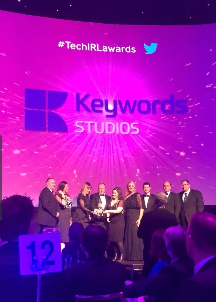 The Keywords Studios Team on stage at the Ibec Technology Ireland Awards 2019