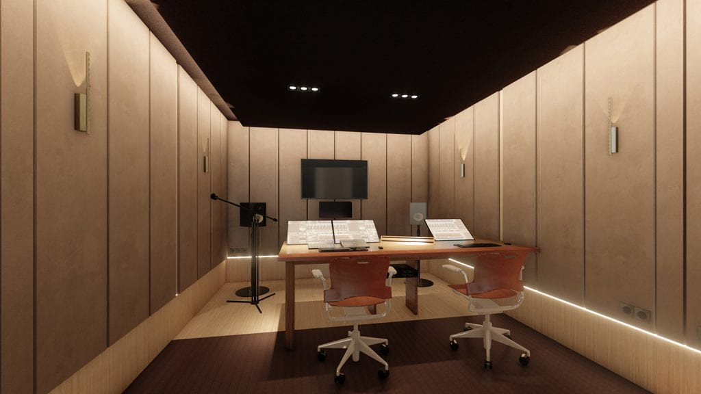 Artist render of New Recording Facility in Keywords Studios Paris offices